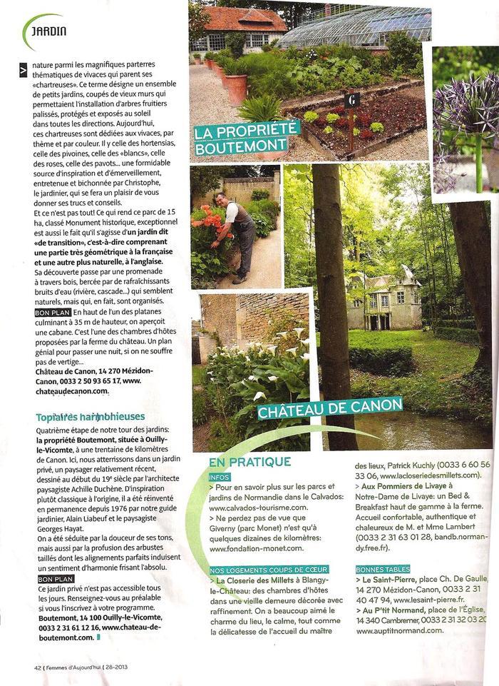 Revue de presse ch teau de canon en normandie for Circuit jardins anglais